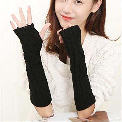 Women Warm Diamond Winter Gloves Mittens Unisex Fashion Arm Warmers Sleeves Gloves to Winter for Woman - (Color: G141 Black, Gloves Size: 30cm)
