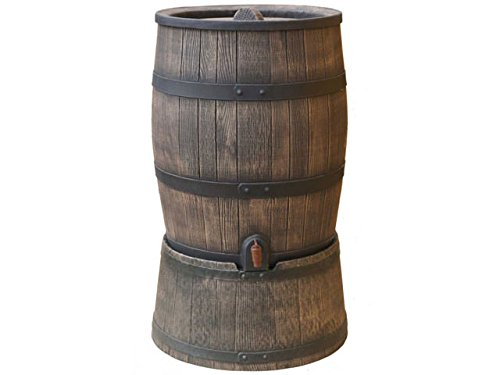Regentonne braun Roto 120 Liter holzoptik (Inkl. Deckel, Hahn und Aufsetzfuß) [Regentonnen, Regenwassertonne, Wassertank, Regentank]