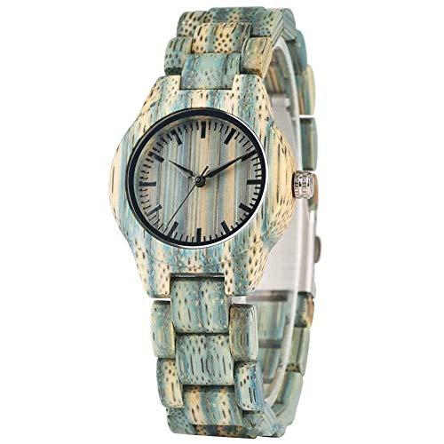 Leyue Reloj de Madera, Mesa de Madera Fresca Menta Verde Bambú Reloj de Ocio Deportes románticos, saludables, respetuosos con el Medio Ambiente Mujeres Mujeres