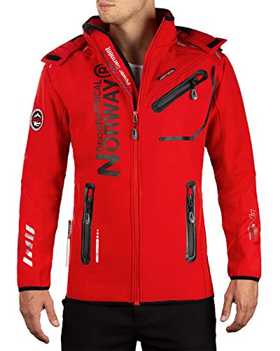 Geographical Norway Bans Production - Chaqueta softshell con capucha desmontable para hombre Red 01 L