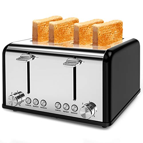 Toaster 4 Slice, Morpilot Toaster Stainless Steel Toaster, 1.5??Extra Wide 4 Slots Four Slice 6 Bread Shade Settings with Reheat Defrost Cancel Function (Black)