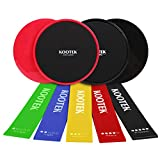 Kootek Resistance Bands and Core Sliders Fitness Kit, 4 Pack Double Sided Gliding Discs Exercise Bands Bundle, Loop Bands and Floor Gliders for Home Gym Workout