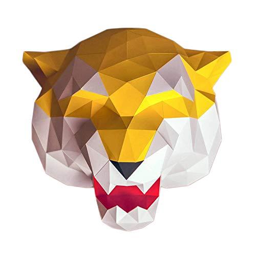 WLL-DP 3D Tiger Head Paper Craft DIY Hecho A Mano Origami Puzzle Tridimensional Geométrico Decoración De Pared Modelo De Papel Escultura De Papel Juguete De Papel