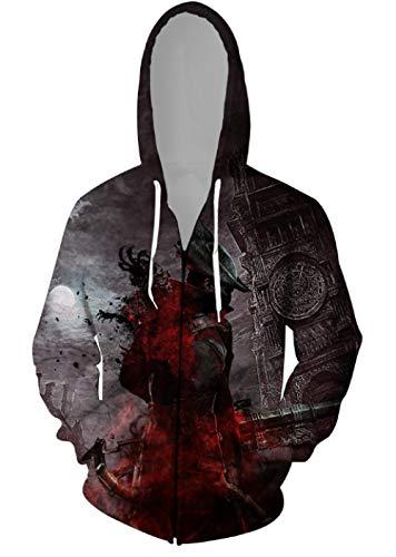 MWMMWLH Sudaderas con Capucha,Bloodborne Series Sudadera con Cremallera para Hombre con Cordn Personalidad Impresin 3D Novedad Moda Cardigan Chaqueta con Capucha Unisex-Negro 2XL