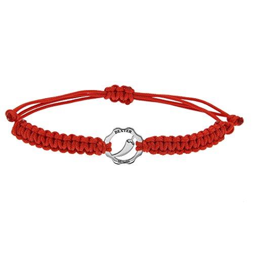 Bracciale donna uomo in filo nautico Dexter rosso, bracciale uomo donna con gioiello simbolo PEPERONCINO in argento, braccialetto unisex artigianale italiano,bracciale idea regalo con chiusura a nodo