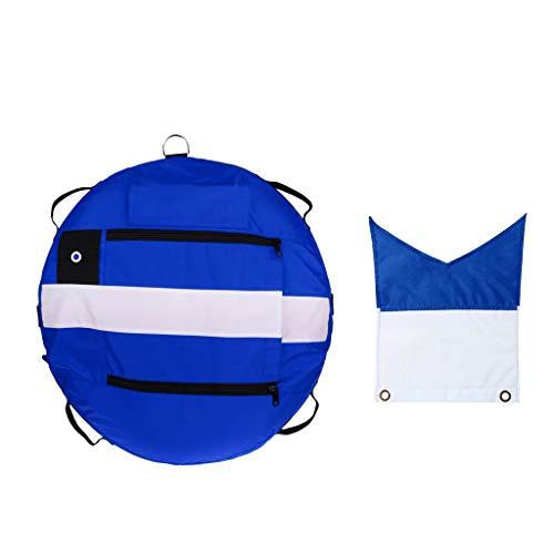 dailymall Boya de Pesca Submarina de Visibilidad Marcador de Superficie de Buceo Flotador de Seguridad + Bandera de Buceo - Equipo de Seguridad Subacuática - Azul