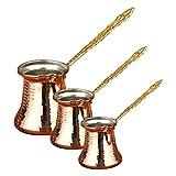 Cafetera turca de cobre martillado griego árabe cafetera pequeña estufa superior Cezve (3 unidades de cafeteras de cobre metal)