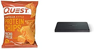 Quest Nutrition Tortilla Style Protein Chips, Low Carb, Pack of 12 Nacho Cheese 13.2 Ounce + Amazon Dash Smart Shelf (Medi...