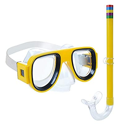 Greenlf Kids Snorkel Set, Children Dry Top Snorkeling Mask, Swimming Goggles with Snorkels Anti Leak Diving Gear Packages for Age 4 Plus,Youth Junior Boys Girls (Yellow)