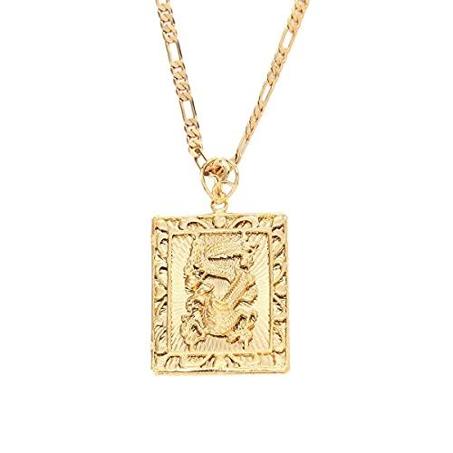 JIEZ Moda Real 24 K Chapado en Oro Colgante Collar Hombre dragón Hiphop Rock Cadena joyería