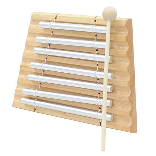 Ashley GAO 1 pieza de madera de percusión siete bar carillón percusión 7 instrumentos musicales de tóner con martillo de percusión de madera