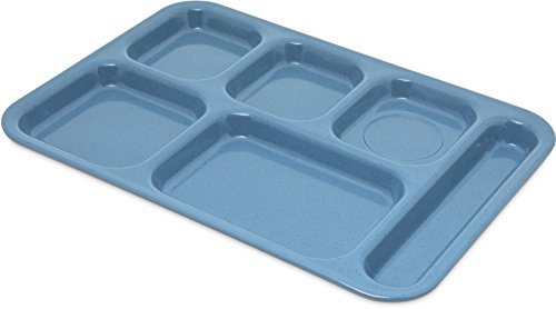 Carlisle 4398992 Right-Hand Heavy Weight 6-Compartment Cafeteria/Fast Food Tray, 10' x 14', Sandshade