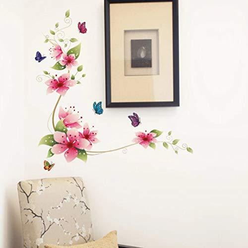 Flores románticas y mariposas etiqueta de la pared decoración del hogar dormitorio sala de estar Fondo Mural arte calcomanías póster pegatinas