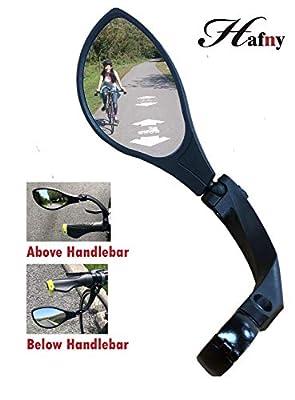 Hafny 2019 New Handlebar Bike Mirror, HD Glass Lens (Silver Left)