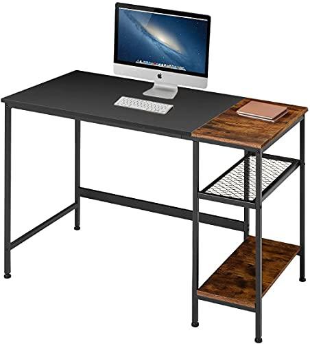 Escritorio industrial de 47 pulgadas con estantes de almacenamiento, escritorio de escritura moderno y resistente, mesa de PC con cajón de rejilla, escritorio de oficina para el hogar y oficina