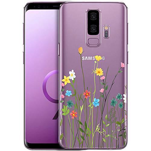 Cover per telefono QULT compatibile con Samsung Galaxy S7 - Custodia per telefono in silicone trasparente con motivi - Cover per telefono ultrasottile Cuore di pizzo bianco