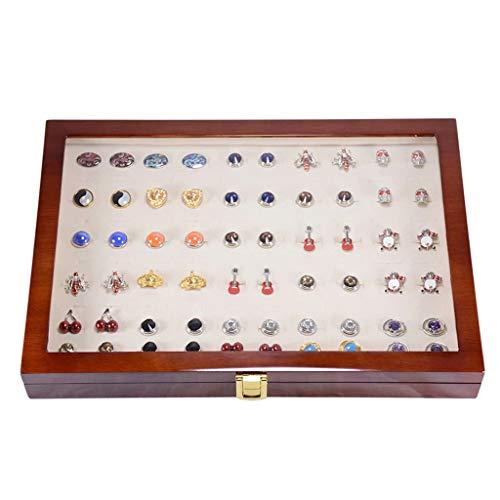 ZDNB Organizador de Anillos - Caja de Almacenamiento de Gemelos Bandeja de exhibición de Anillos de joyería de Vidrio de Terciopelo para joyería, Anillos, aretes y más, Marrón, 35cm × 24cm × 5.5cm