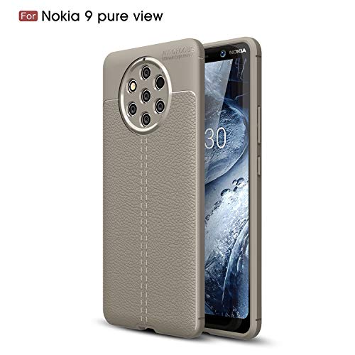 Cruzerlite Nokia 9 PureView hülle, Flexible Slim Hülle with Leather Texture Grip Pattern and Shock Absorption TPU Cover Schutzhülle für Nokia 9 PureView (Gray)
