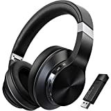TOKSEL Wireless Gaming Headphones Headset Set w/Noise Cancelling Microphone & Bluetooth USB Audio Dongle for PC Nintendo Switch, 40ms Low Latency, 15hrs Play Time