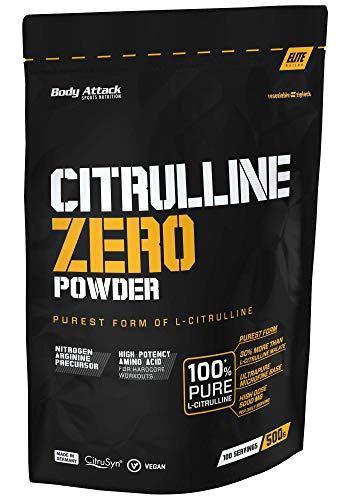 Body Attack Citrulline Zero 500g- 100% reinstes Citrulline ohne Zusätze (30% mehr Reinheit), vegan, aus pflanzlicher Fermentation, hochdosiert 5000mg p.P., optimale Löslichkeit - Made in Germany