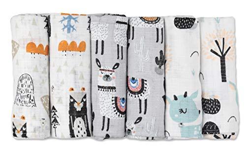 Mulltücher - Mullwindeln - 6er Pack 70x80 cm - Stoffwindeln, MADE IN EU, schadstoffgeprüft -Spucktücher Baby für Jungen und Mädchen - Grau - Lama - Baby Mullwindeln