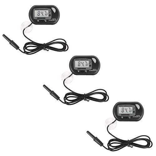 HDE Digital Aquarium Thermometer Fish Tank Thermostat Water Temperature Control (3 Pack)