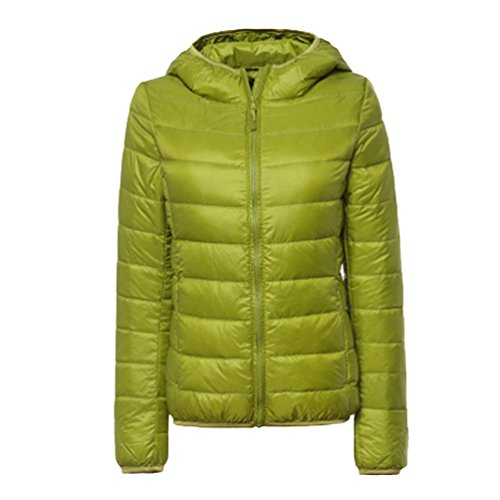 Jitong Donna Ultra Leggero Giacche di Piuma Manica Lunga Invernali Piumini con Cappuccio Cappotto (Verde, CN S)