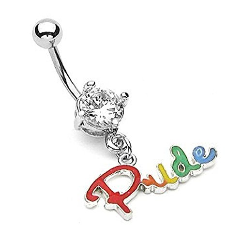 (Rainbow Dangle Pride Script Belly Ring) - Gay and Lesbian Pride Body Jewelry - LGBT Belly Button Navel Rings. LGBT Pride - Gay and Lesbian 316 Steel Barbell Ring
