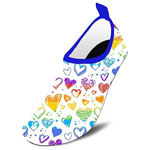 LGBT Pride Rainbow Heart Kids Toddler Water Shoes Barefoot Quick Dry Water Sports Shoes Aqua Socks for Beach Swim Surf Walking Yoga Blue 12-12.5 Little Kid
