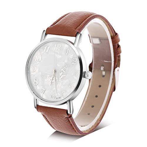 Reloj de mujer, 3 colores, correa de cuero PU de moda, reloj de cuarzo, relojes de pulsera analógicos femeninos para mujer(marrón)