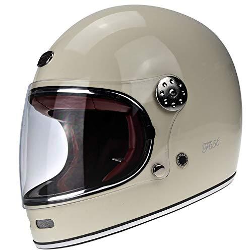 Viper F656 Moto Casco Crema in Fibra di Vetro Integrale Vintage ECE 22-05 Omologato Caschi Bici Abbigliamento Protettivo (M (57-58 CM))