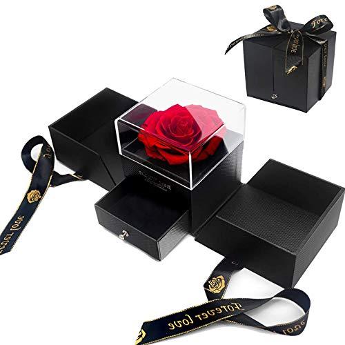 Ewige Rosen-Box,Rose Schmuck Geschenkbox Handgemachte konservierte Rose Geschenkbox Nie verwelkte Rosen für Liebhaber Geschenk Anniversary, Birthday für Sie AmValentinstag Muttertag