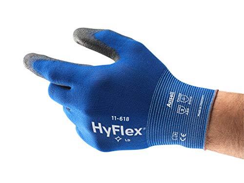 Ansell HyFlex 11-618 Arbeitshandschuhe aus Nylon, extra dünn, Mechaniker-Handschuh, Mehrzweck, blau, schwarz, Herren-Arbeitskleidung, strapazierfähig, Größe 9 (12 Paar)