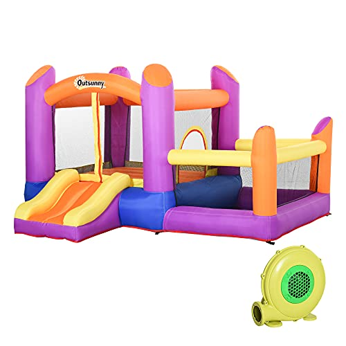 Outsunny Kids Bounce Castle House Inflatable Trampoline Slide Water Pool 3 in 1 with Inflator for Kids Age 3-10 Multi-color 3 x 2.8 x 1.7m