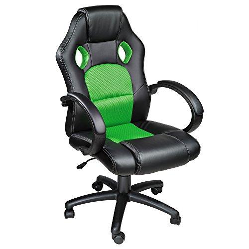 TecTake Poltrona Sedia direzionale da ufficio Racer classe di lusso nero verde