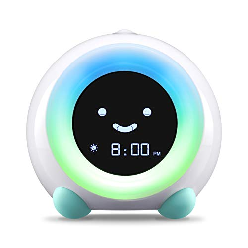 LittleHippo Mella Ready to Rise Children's Trainer, Alarm Clock, Night Light Sleep Sounds Machine (Arctic Blue), Standard