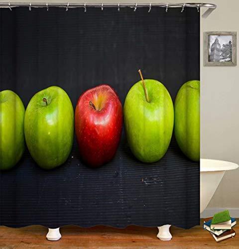 LGY Roter Apfel. Grüner Apfel. Duschvorhang. Badezimmerzubehör. Wasserdicht. Enthält 12 Haken. Duschvorhangstangenringhaken. Hintergr&. Party. Wohnzimmer.