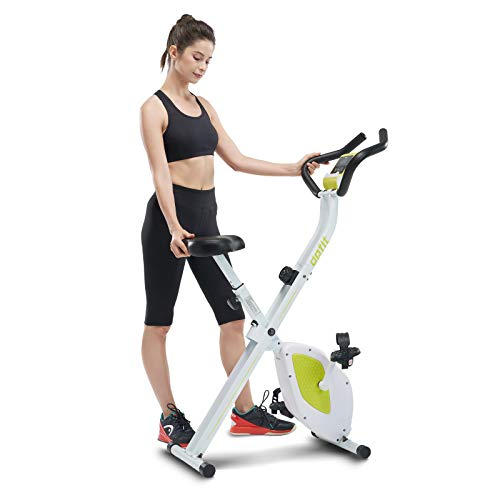 DPFIT Folding Stationary Exercise Bike with 8-Levels Magnetic Resistance, Indoor Upright Foldable Cycling Bike with Large Cushy Seat, Tablet Holder and LCD Monitor for Home Workout, Green