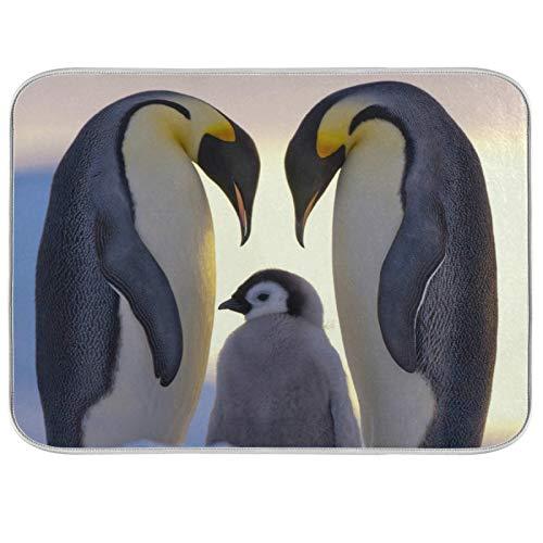 Tapis de séchage à vaisselle Microfibre de comptoirs de cuisine Protecteur de coussin sec 16 x 18 pouces Famille de pingouins