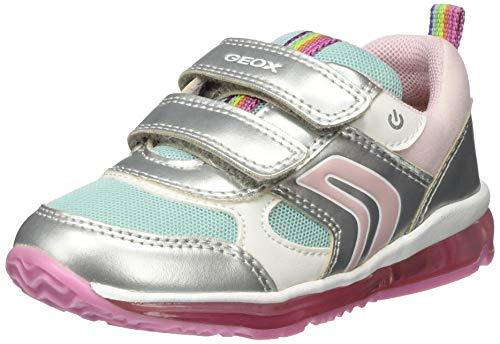 Geox B TODO Girl B, Sneakers Basses Garçon Fille, Argent (Silver/Aqua C1w4a), 21 EU