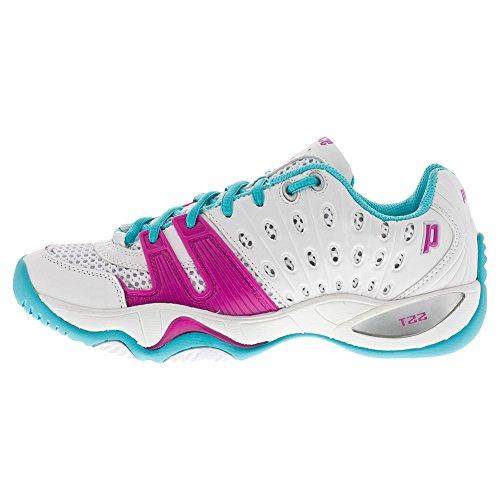 Prince Women`s T22 Tennis Shoes White and Aqua-(8P985-106B)