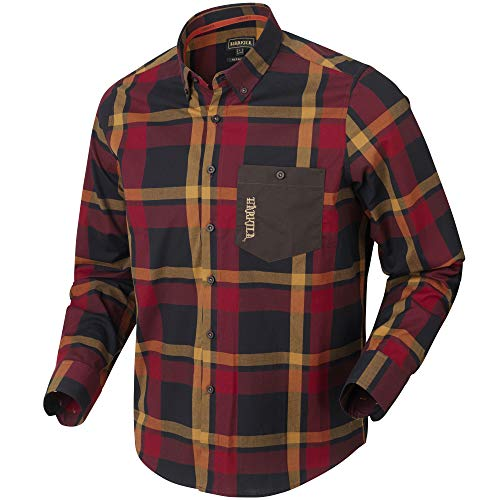 Härkila Amlet L/S Jagd- und Freizeithemd im Active-Fit-Design | Jagdhemd | Outdoorhemd | Freizeithemd (Red/Black Check, XXL)