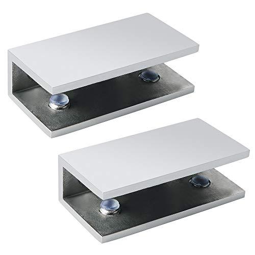 Alise BL2000-2P Adjustable Frameless Rectangle Glass Shelf Bracket Holder Heavy Duty Clamp Shelf Clip,SUS 304 Stainless Steel Polished Chrome ,2 Pcs