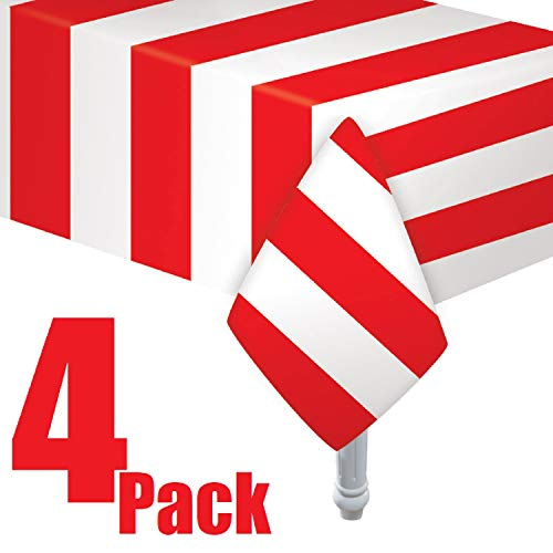 Red & White Stripes Carnival Them Party Tablecover Pack of 3 by Oojami