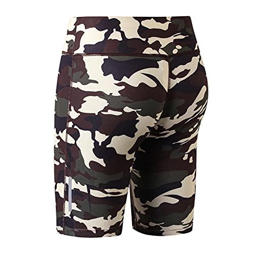 Huntrly Pantalones Cortos de Mujer Moda Personalidad Estampado de Camuflaje Fitness Pantalones Cortos de Yoga Deportes Correr Pantalones de Cinco Puntos Ajustados de Secado rápido M