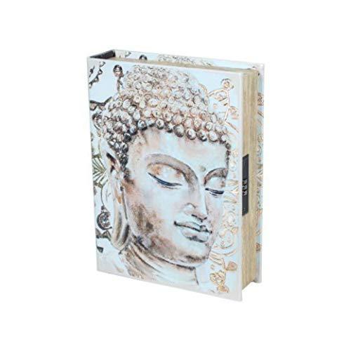 CAPRILO. Caja Libro de Seguridad Decorativa de Madera Buda. Cajas Multiusos. Joyeros....