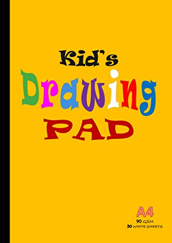 Kid's Drawing Pad A4: Drawing Paper for Children, 100 Pages/50 Sheets, 90gsm Thick Plain Sketch and Colouring Paper Book | 210 x 297mm - Yellow cover