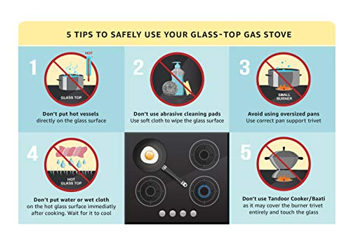 Elica Vetro Glass Top 3 Open Burner Gas Stove (7031 CT VETRO Black)