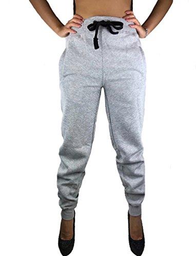 Worldclassca Damen Camouflage Jogginghose Camou TARN Army Trainingshose Schlafanzug-Hose Uni EINFARBIG Sporthose Blogger Schlafhose Sport Fitness Sweatpants S-3XL NEU (S, Grau-Uni)