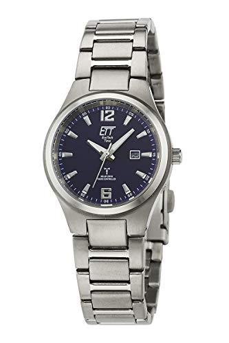 ETT Eco Tech Time Funk Solar Damen Uhr Analog mit Titan Armband ELT-11439-31M